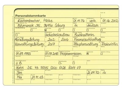 Personalstammkarte, DIN A5