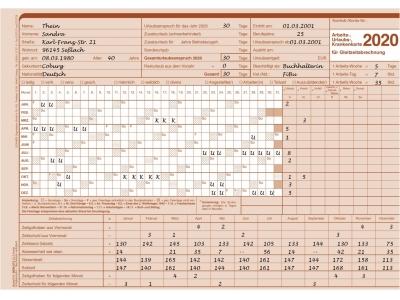 AUK-Gleitzeitabrechnungskarte für 2020