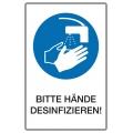 """Etikett """"BITTE HÄNDE DESINFIZIEREN!"""""""