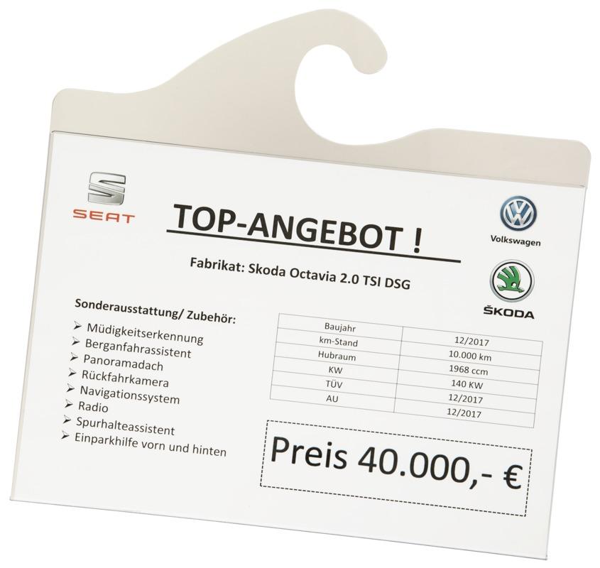 Eichner Preisblatt-Tasche A4 für Innenspiegel