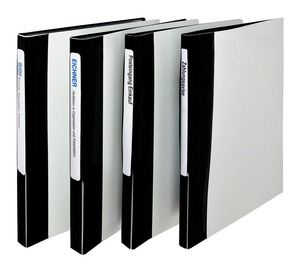 9330-01005 - Display book with striped look Overview standing